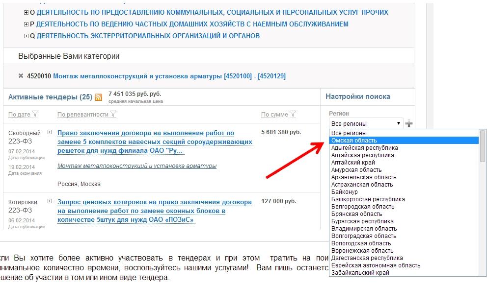 тендеры россии. поиск тендеров по критериям выбора региона